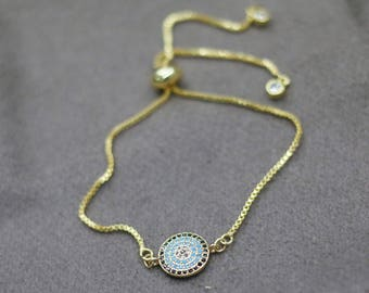 sideway rhinestone pave evil eye bracelet,gold chain adjustable bracelet,bohemian bracelet,turkey layering bracelet,hot summer beach jewelry