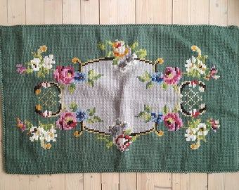 Vintage embroidery Cross stitched wall decor Large vintage cross stitched wall hanging Unframed shabby wall embroidery