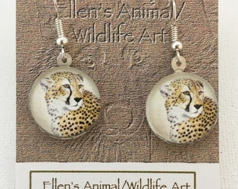 Cheetah earrings, cheetah jewelry, wildlife jewelry, wildlife earrings, cheetah art, Animal Lover, Big Cat Jewelry