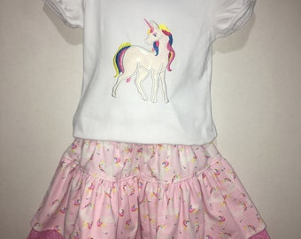 Girls Unicorn Skirt Set! Boutique Outfit Twirly Skirt Embroidered Shirt Birthday Party Magic Magical 2, 3, 4, 5, 6, 7, 8, 10, 12 Toddler