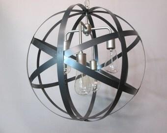 "Orb Chandelier - Wine Barrel Ring Light - Modern Ceiling Light - Satin Nickel Light - Dining Room Light -18""  Handmade Light - Foyer Light"