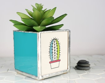 Teal Stain Glass Planter, Office Garden Succulent Planter, Small Planter, Cactus Planter, Plant Container Home Decoration,Living Room Decor