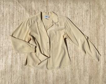 Cream Silk Collared Pocket Blouse | 90s vintage | long sleeved | button up | minimalist | oversized | size 8 | medium | small | petite