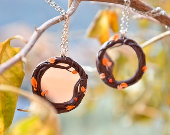 With or without mirror Ladybug necklace, nature branches and leaves, orange or green, protection amulet size 3 cm approx