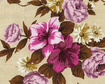 Outback Wife Fabric by the Yard, Elaine Pink, Gertrude Made, Ella Blue Fabrics, BARKCLOTH FABRIC, Cream Floral Fabric, TE 6011 P