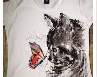 "Hand Paint T-shirt""CAT"",acrylic painting,handmade,women and men,gift,decor,design"