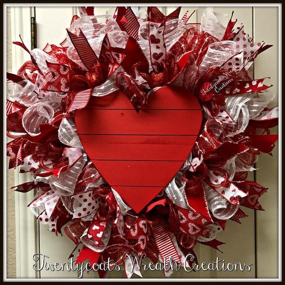 Valentine's Day Wreath - Valentine's Day - Wooden Heart- Deco Mesh Heart Wreath - Heart Wreath
