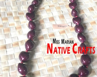 Burgundy Kukui Necklaces, Kukui Leis Wholesale / retail (for wholesale, minimum 100 pcs)