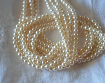 100 ~ Creamrose 4MM 5810 Swarovski Crystal Beads Pearls ~ Continuous Strand with Stringing Cord
