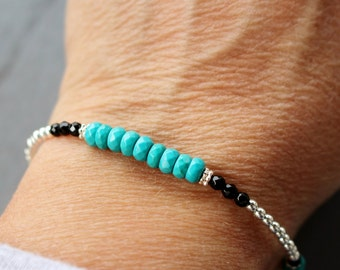 Silver and turquoise bracelet, beaded gemstone bracelet, turquoise beaded bracelet, silver bracelet, woman's bracelet, gifts for her