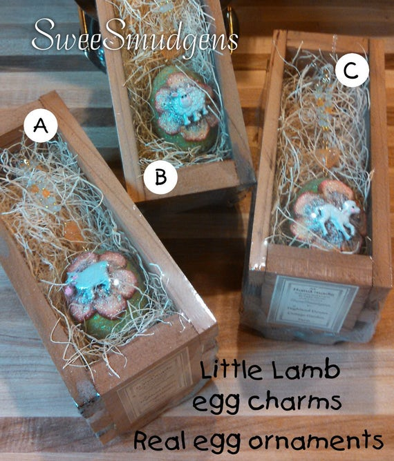 Real eggshells Easter egg charms farm animal real egg favors spring real egg art work sparkling keepsake ornament all hand made holiday eggs