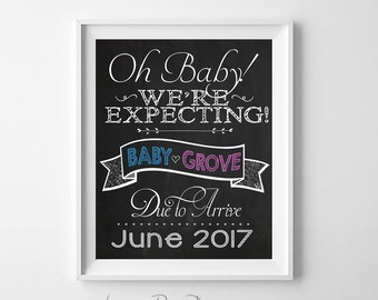 Expecting Announcement, Pregnancy Announcement Sign, Chalkboard Sign - Digital File