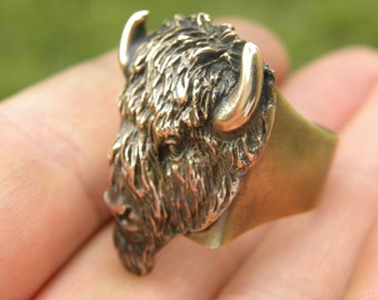Adjustable Men Ring Buffalo Bison head nice gift for Buffalo Bills fans football apparel country western tribal