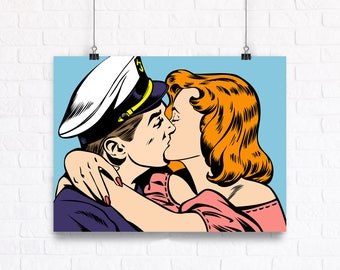 Marine Kiss - Comic Book Style Romantic Pop Art Vector Poster. Customizable Wall Art.