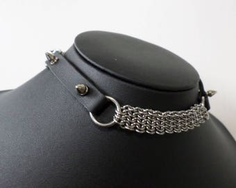 Studded PU Leather and Chainmail Choker - Stainless Steel European Chainmaille Mithril Collar