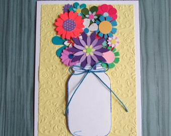 Mason Jar bouquet card-all occasion cards,blank greeting cards,floral cards,thank you cards,embossed cards,5X7 cards,Handmade/Homemade cards