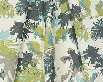 Gray & Green Coastal Fabric by the Yard Designer Tropical Beach Fabric Cotton Curtain or Upholstery Fabric Gray Palms Home Decor Fabric B229