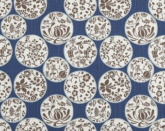 Designer Fabric by the Yard Regal Navy Home Decor Fabric Cotton Drapery Curtain or Upholstery Yardage Geometric Woodland Scandi Asian B163