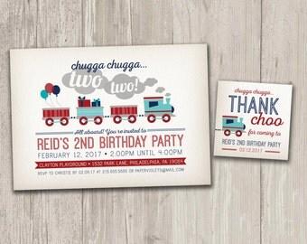 Vintage Style Train Birthday Invitation, Train Birthday Party, Chugga Chugga Two Two Invite with FREE matching favor tags | Digital File
