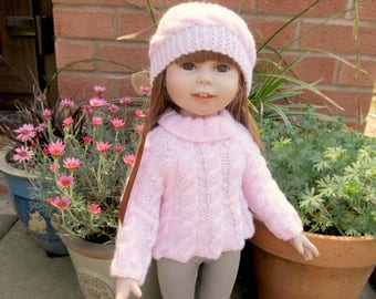 Hand Knitted Suit For 18 inch American Girl Doll , Jumper Headband Clothes set