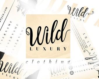 6 Piece Premade Branding Kit Design   Beige Branding Package   Luxury Logo Design   Fashion Beauty Blog Logo Design   Blogger Wordpress Logo