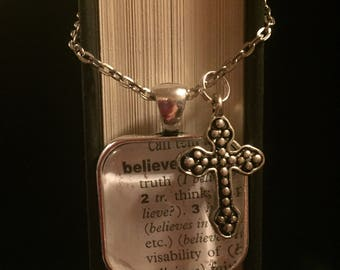 Believe - Book Page Necklace with Cross Charm