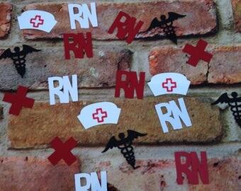 Nurse party, Nurse Hat, RN, BSN, Red Cross & Caduceus Confetti, Registered Nurse party, Registered Nurse Graduation