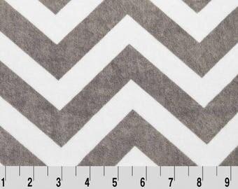Charcoal / Snow Chevron Minky fabric (Shannon Fabrics) Gray White