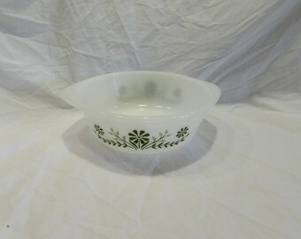 Glassbake, Two Quart Serving Bowl, Casserole Dish, Round, Green Flowers, #J514