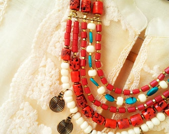 Bohemian Necklace/Statement necklace/Bib Necklace/Beaded Jewelry/Tribal Necklace/Turquoise Necklace/Red Boho Necklace