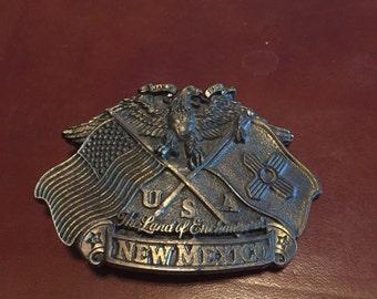 New Mexico Brass Belt Buckle