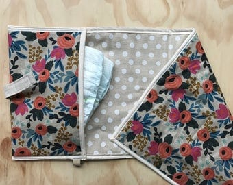 Diaper clutch - Changing pad - Riflepaper flower All-in-One Linen & cotton -