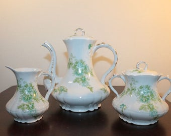 Limoges France Coronet Teapot Cream and Sugar