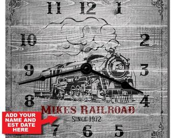 Train Room Personalized Locomotive Wall Clock