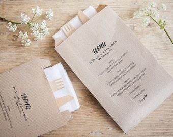 10 Personalised Menu Kraft Paper Bags
