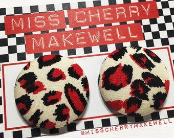 Red Leopard Print Fabric Button Rockabilly 1950's Pin Up Punk Retro Vintage Inspired Stud Earrings By Miss Cherry Makewell