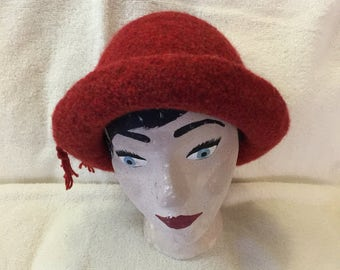 Rustic red 100% wool felted hat with cord.