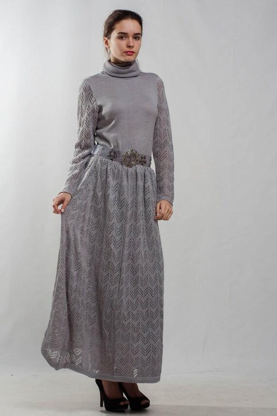 Items similar to Grey knit dress turtleneck office dress ...