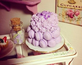 MINIATURE MACAROON CAKE, 1:12 scale, one of a kind, handmade, purple macaroon cake.
