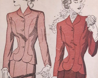 Exquisite 40s Suit Pattern Advance 4868 Size 16 Bust 34 Vintage Sewing Pattern