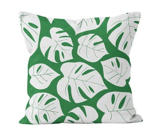 Palm Leaves Pillow Cover, Palm Leaf Pillow Cover Decor, Tropical Pillow Cover, Tropical Green Pillow Cover, Tropical Palm Leaf Pillow Cover