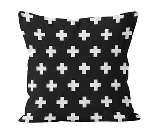 45 colors Swiss Cross Pillow Cover, Black and White Swiss Cross Pillow cover, Scandinavian minimalist pillow cover, nordic design decor