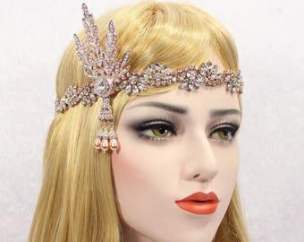 Great Gatsby Headpiece | Rose Gold Gatsby Headband Crystal Bridal Tiara Leaf Tiara Ribbon Tie back Headpiece 20s Headpiece Wedding Headband