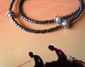 Hematite beads silver plated metal beads necklace chain
