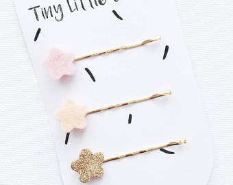 Hair clips, Pastel pink, peach, gold glitter, 1, 6 cm wide, 5 cm long.