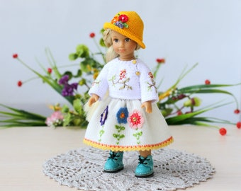 """American girl mini Handmade knitted set for the 6"""" AG Mini doll  White Jacket Skirt and Hat 6 inch Doll clothes AG girl dress"""