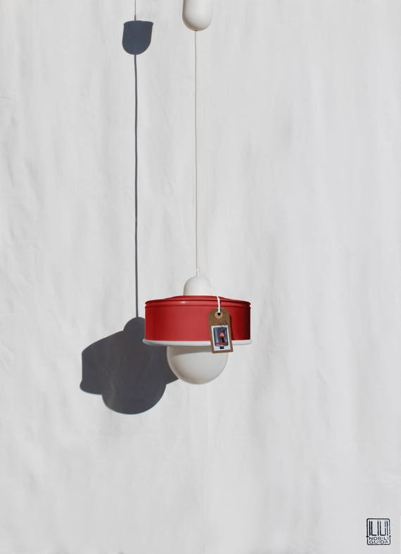 Hanging / pendant / ceiling lamp cherry / coral... eco-friendly handmade :recycled from  coffee can! LED light bulb included! also US and UK