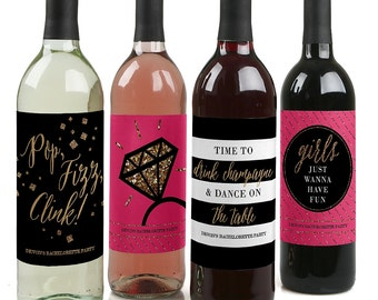 Girls Night Out - Bachelorette Custom Wine Bottle Labels for Bachelorette Parties - Set of 4 Personalized Sticker Labels