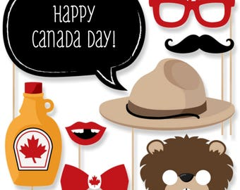 Canada Day - Personalized Canada Photo Booth Prop Kit - O Canada - Mountie, Beaver, Moose - 20 Pieces