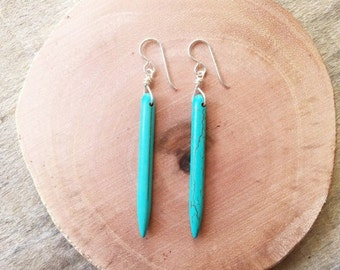 "Turquoise Earrings / Turquoise Spike Earrings / Bachelorette ""Britt"" Earrings / Turquoise Drop Earrings / Turquoise Howlite Spike Earrings"